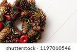 christmas wreath on white... | Shutterstock . vector #1197010546