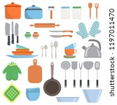 kitchen equipments and utensils ... | Shutterstock .eps vector #1197011470