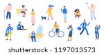 group of different people with... | Shutterstock .eps vector #1197013573