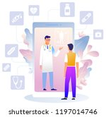 online medical consultation... | Shutterstock .eps vector #1197014746