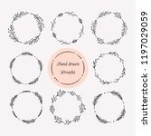 Hand Drawn Wreath Set. Floral...
