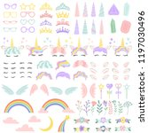 pony unicorn face elements.... | Shutterstock .eps vector #1197030496