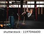 rope climbing exercise.... | Shutterstock . vector #1197046600
