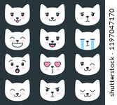 set of cat faces with different ... | Shutterstock .eps vector #1197047170
