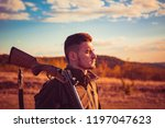 autumn hunting season. hunter... | Shutterstock . vector #1197047623