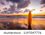 surfboard on the beach in sea... | Shutterstock . vector #1197047776
