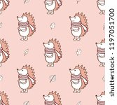 the hedgehog symbol in a scarf. ...   Shutterstock .eps vector #1197051700
