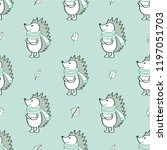 the hedgehog symbol in a scarf. ...   Shutterstock .eps vector #1197051703