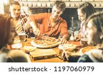 happy friends group eating... | Shutterstock . vector #1197060979
