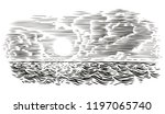 sea view engraving style... | Shutterstock .eps vector #1197065740