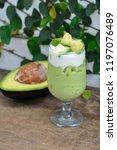 avocado yogurt or blended...   Shutterstock . vector #1197076489