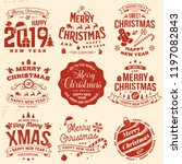 set of merry christmas and 2019 ... | Shutterstock .eps vector #1197082843