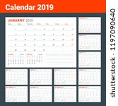 calendar template for 2019 year.... | Shutterstock .eps vector #1197090640