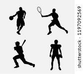 sport players vector. | Shutterstock .eps vector #1197092569