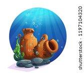 underwater ancient amphorae... | Shutterstock .eps vector #1197104320