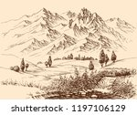 mountains panorama hand drawing.... | Shutterstock .eps vector #1197106129