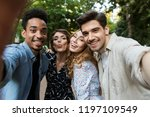 image of happy young group of... | Shutterstock . vector #1197109549