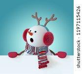 3d render  christmas snowman...   Shutterstock . vector #1197115426