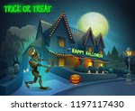 happy halloween background  ... | Shutterstock .eps vector #1197117430