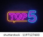 top 5 neon text . top five neon ... | Shutterstock . vector #1197127603