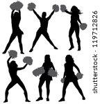 cheerleader silhouette on white ... | Shutterstock .eps vector #119712826