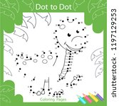 dot to dots drawing worksheets. ... | Shutterstock .eps vector #1197129253