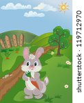 landscape with rabbit and carrot | Shutterstock .eps vector #119712970