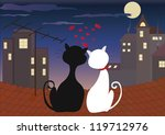 love cats at night   Shutterstock .eps vector #119712976