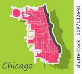 sticker map chicago city.... | Shutterstock .eps vector #1197132640