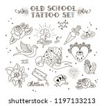 old school tattoo set. tattoo...   Shutterstock . vector #1197133213