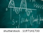 Small photo of Mathematics lesson differential and integral calculus Chalkboard.