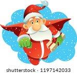 superhero santa claus bringing... | Shutterstock .eps vector #1197142033