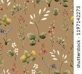 watercolor floral pattern ... | Shutterstock . vector #1197142273