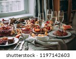 party table with glasses of... | Shutterstock . vector #1197142603