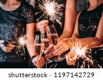 friends celebrating christmas... | Shutterstock . vector #1197142729
