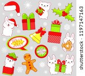 set of cute christmas icons in... | Shutterstock .eps vector #1197147163