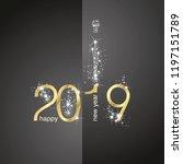 2019 gold new year firework... | Shutterstock .eps vector #1197151789