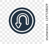 u turn vector icon isolated on... | Shutterstock .eps vector #1197158029
