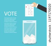 hand holding ballot page ... | Shutterstock .eps vector #1197170020