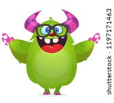 funny cartoon monster wearing... | Shutterstock .eps vector #1197171463