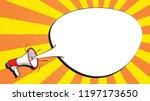 megaphone and speech bubble on...   Shutterstock .eps vector #1197173650