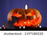 halloween pumpkin. candles  bat ...   Shutterstock . vector #1197180220