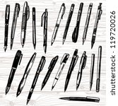 set of pens and pencils hand... | Shutterstock .eps vector #119720026
