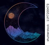 hand drawn night sky and...   Shutterstock .eps vector #1197200473