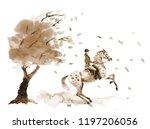 horseback rider and rearing... | Shutterstock . vector #1197206056