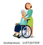 elderly woman sitting on a... | Shutterstock .eps vector #1197207559