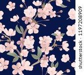 floral retro seamless pattern ... | Shutterstock .eps vector #1197208909
