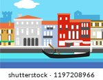venice city colorful flat style ... | Shutterstock .eps vector #1197208966