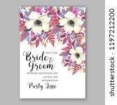 rose wedding invitation floral... | Shutterstock .eps vector #1197212200