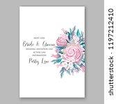 burgundy marsala rose wedding... | Shutterstock .eps vector #1197212410